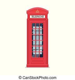 ロンドン, 電話, 赤, ブース