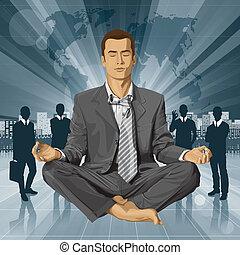 ロータス, ビジネスマン, ポーズを取りなさい, 瞑想する, ベクトル