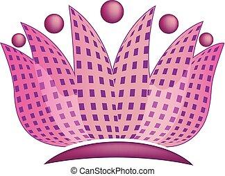 ロータス, ロゴ, 抽象的, 花