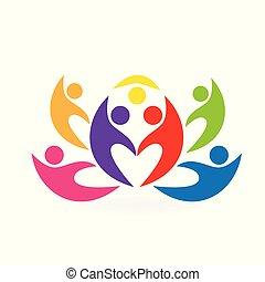 ロータス, ロゴ, 花, チームワーク, 人々