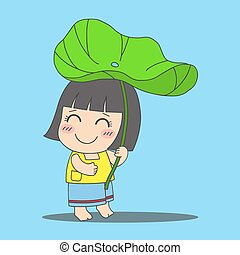 ロータス, 女の子, 葉