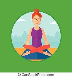 ロータス, 女性が瞑想する, pose.