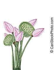 ロータス, 抽象的, 花
