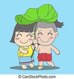 ロータス, 男の子, 女の子, 葉