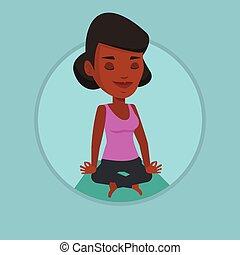 ロータス, 瞑想する, 女, ヨガ, pose.