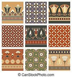 ロータス, 装飾, seamless, flower., ベクトル, エジプト人, 基づかせている, 国民, イラスト