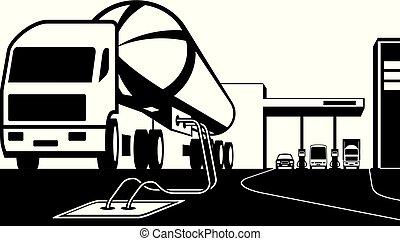ローディング, タンク, ガソリン 場所, トラック, 燃料