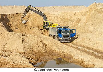 ローディング, トラック, ダンパ, 掘削機