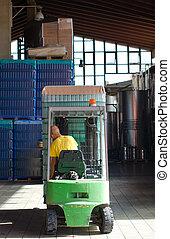 ローディング, フォークリフト, 労働者, 箱, 倉庫, ワイン