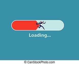 ローディング, 人, バー, 概念, running., 提示, メッセージ, illustration., ビジネス, ベクトル