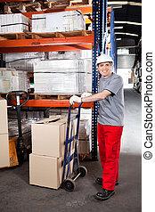 ローディング, 労働者, 箱, 倉庫, ボール紙, handtruck