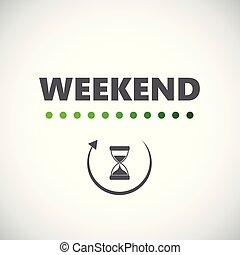 ローディング, 週末, 砂時計, アイコン