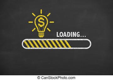 ローディング, 金融, 革新的, 考え, 解決, 概念