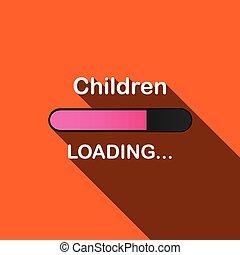 ローディング, -, 長い間, イラスト, 影, 子供