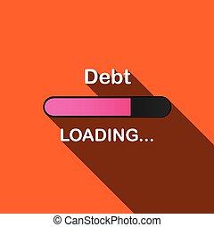 ローディング, -, 長い間, イラスト, 影, 負債