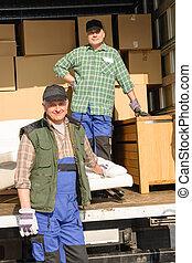 ローディング, 2, 箱, 発動機, 人, 家具