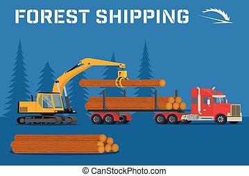 ローディング, felled, 材木, 木, クレーン