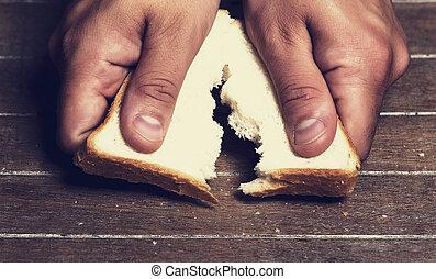 ローフ, 壊れる, に対して, 手, bread, 離れて