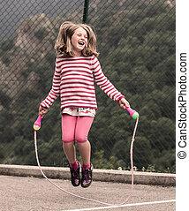 ロープ, わずかしか, 跳躍, 女の子