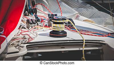ロープ, ウインチ, 帆船, 黄色