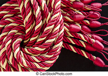 ロープ, カーテン, 絹, tassels., 山
