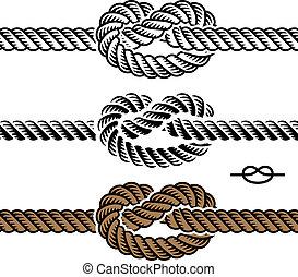 ロープ, シンボル, ベクトル, 黒, 結び目