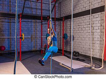 ロープ, ジム, 女, 上昇, 練習