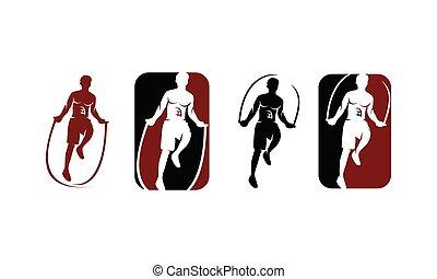 ロープ, スポーツ, セット, テンプレート