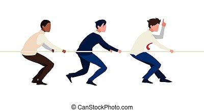 ロープ, チームワーク, 引く, ビジネスマン