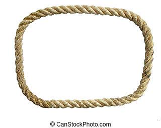 ロープ, ナイロン, 隔離された, ループ