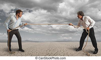 ロープ, ビジネスマン, 引き