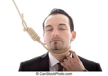 ロープ, ビジネスマン, 掛けられる