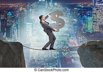 ロープ, ビジネスマン, 歩くこと, しっかりと