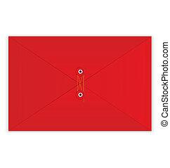 ロープ, ベクトル, 封筒, 赤, シール