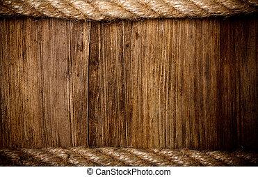 ロープ, 上に, 風化させた 木, 背景