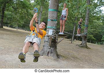 ロープ, 上昇, 公園, 冒険, 人