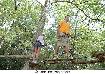 ロープ, 上昇, 公園, 冒険, 家族