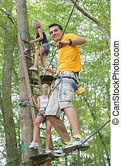 ロープ, 上昇, 友人, 公園, 冒険