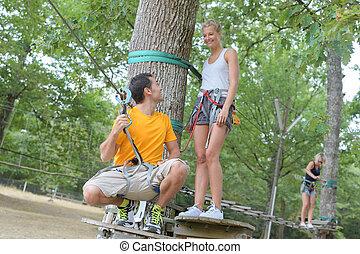 ロープ, 上昇, 恋人, 公園, 冒険