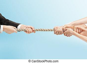 ロープ, 人々, 引く, 手