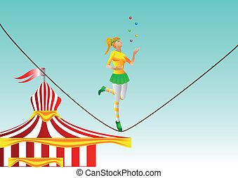 ロープ, 女の子, circus.