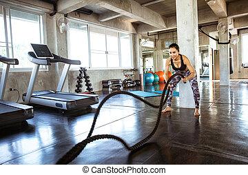 ロープ, 女, 美しい, 訓練, 使うこと, ジム, 若い