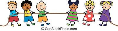 ロープ, 引き, 子供
