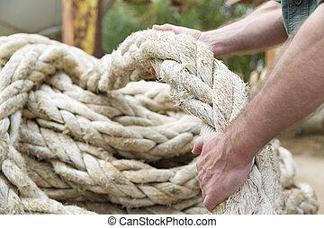 ロープ, 引く, 手