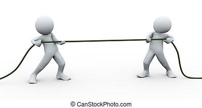 ロープ, 引く, perople, 3d
