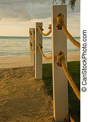 ロープ, 棒, 浜, 線