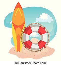 ロープ, 砂, 浮き, 浜, サーフボード