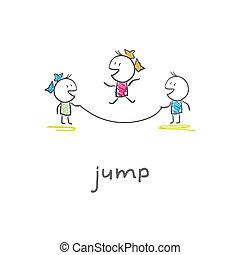 ロープ, 跳躍, 子供たちが遊ぶ