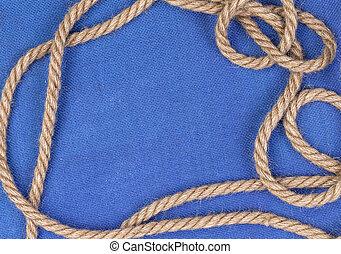 ロープ, 青, キャンバス, 背景