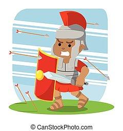 ローマ人, とっているカバー, アフリカ, 矢, 兵士